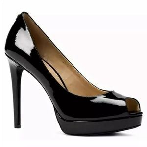 Michael Kors Black Erika Leather Peep Toe Classic